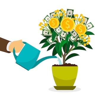Ręka podlewania drzewo pieniądze w doniczce