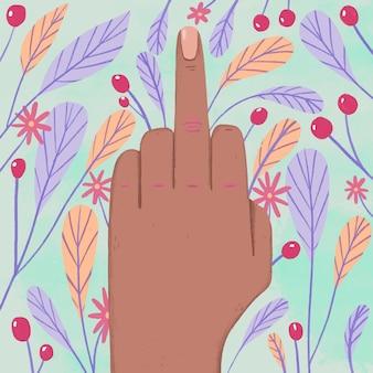 Ręka pokazująca symbol fuck you z kwiatami i liśćmi