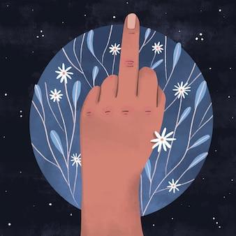 Ręka pokazująca symbol fuck you z kwiatami