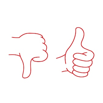 Ręka pokazuje zły gest i dobry gest ok ilustracja wektorowa izolowana zabawa clipart