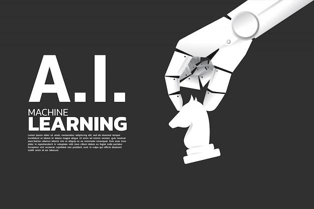 Ręka robota porusza szachy na pokładzie. nauczanie maszynowe