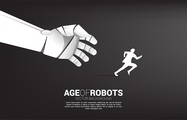 Ręka robota próbuje złapać biegnącego człowieka