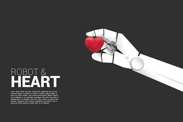 Ręka robota trzyma serce 3d. koncepcja maszyny technologii ai