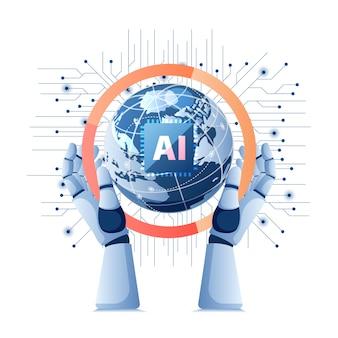 Ręka robota trzymająca świat z chipem ai sztucznej inteligencji na płytce elektronicznej. technologia sztucznej inteligencji i koncepcja uczenia maszynowego.