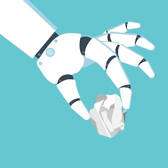 Ręka robota trzymająca zmięty arkusz papieru. ilustracja wektorowa w stylu płaski.