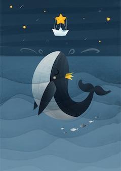 Ręka rocznika rysunkowy wieloryb skacze gwiazdowa ilustracja. eps10