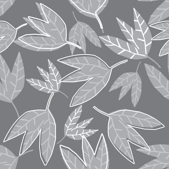 Ręka rysować abstrakcjonistycznych monochromatycznych liści bezszwowy wzór