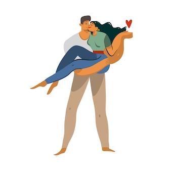 Ręka rysująca akcyjna abstrakcjonistyczna graficzna miłości ilustracja z młodą romantyczną całowania odprowadzenia parą wpólnie odizolowywa na białym tle