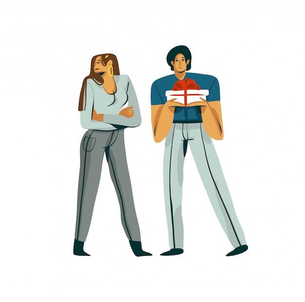 Ręka rysująca akcyjna abstrakcjonistyczna graficzna walentynka dnia ilustracja z młodą romantyczną parą w konflikcie odizolowywającym na białym tle
