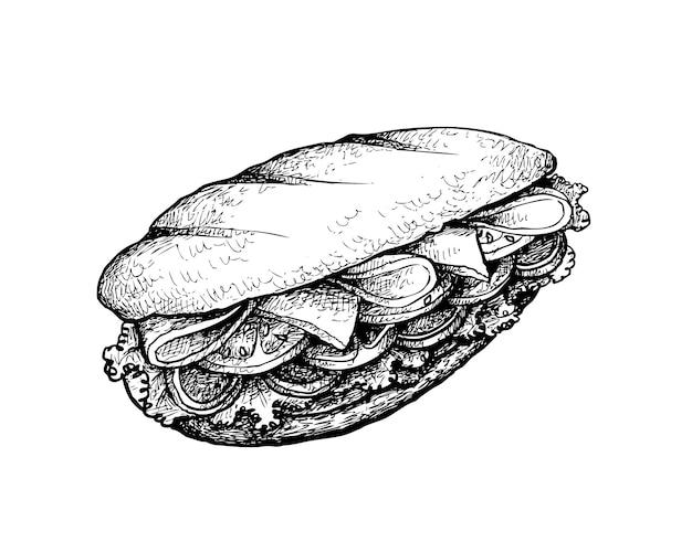 Ręka rysująca baguette kanapka na białym tle