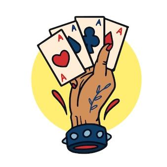 Ręka rysująca cztery as starej szkoły tatuażu ilustracja