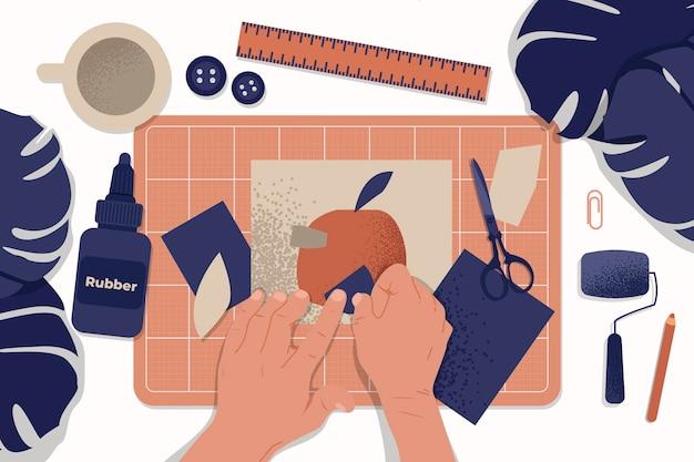 Ręka rysująca diy kreatywnie warsztatowa ilustracja