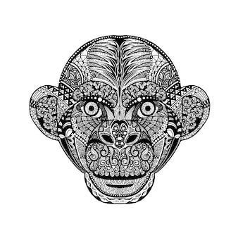 Ręka rysująca głowa awatara małpy
