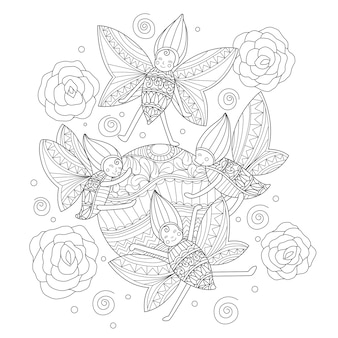 Ręka rysująca ilustracja szczęśliwa mała pluskwa