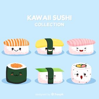 Ręka rysująca kawaii suszi uśmiechnięta kolekcja