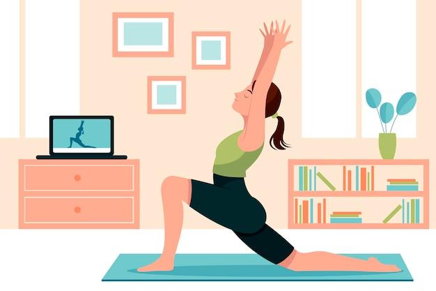 Ręka rysująca kobieta robi joga ilustraci