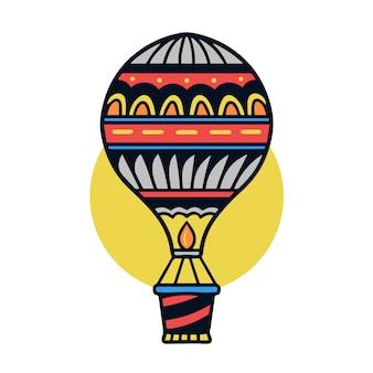 Ręka rysująca kolorowa lotniczego balonu starej szkoły tatuażu ilustracja