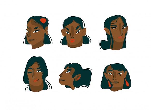 Ręka rysująca kreskówki czarnych dziewczyn charakterów kolekci zestawu ustalona ilustracja