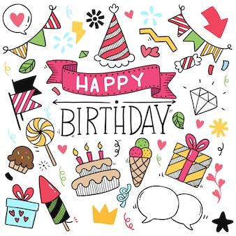 Ręka rysująca partyjna doodle wszystkiego najlepszego z okazji urodzin ornamentów deseniowa ilustracja