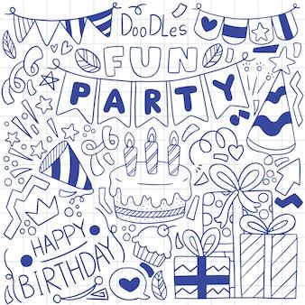Ręka rysująca partyjna doodle wszystkiego najlepszego z okazji urodzin ornamentuje ilustrację