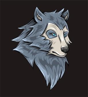 Ręka rysująca przerażającego wilka z poważnym wyrazem twarzy