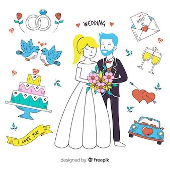 Ręka rysująca ślub para i elementy