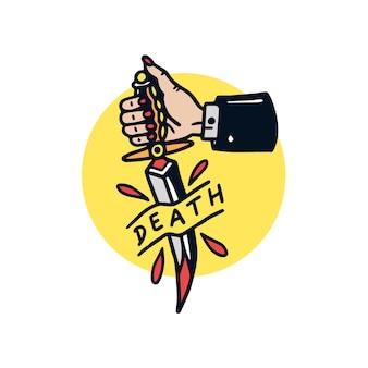 Ręka rysująca śmiertelna kindżału starej szkoły tatuażu ilustracja