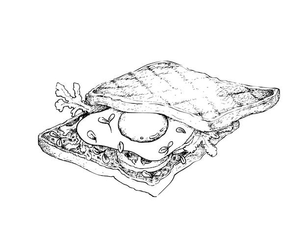 Ręka rysująca wznosząca toast kanapka na białym tle