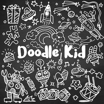 Ręka rysujący dzieciaka doodle set, doodle styl, wektorowa ilustracja