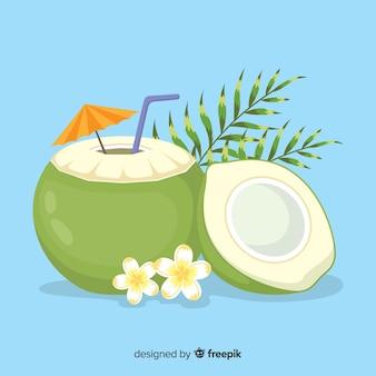 Ręka rysujący kokosowy koktajlu tło