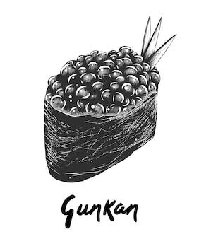 Ręka rysujący nakreślenie gunkan ikura w monochromu