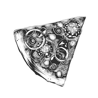 Ręka rysujący nakreślenie włoska pizza w monochromu