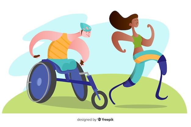 Ręka rysujący niepełnosprawny atlety tło