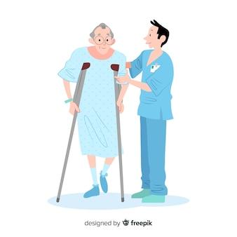 Ręka rysujący pielęgniarka pomaga pacjent