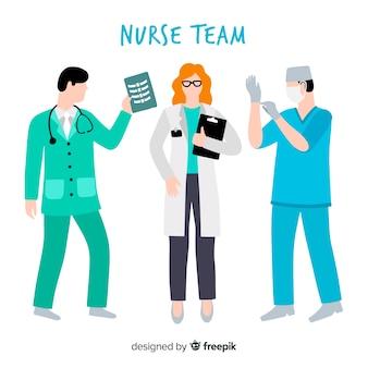 Ręka rysujący pielęgniarki drużyny tło
