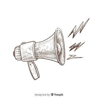 Ręka rysujący rocznika megafonu tło