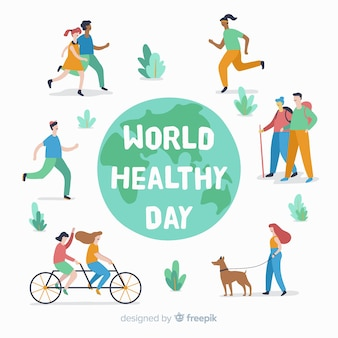 Ręka rysujący światowego zdrowia dnia tło