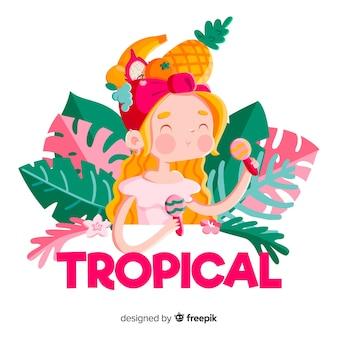Ręka Rysujący Uśmiechnięty Blondynki Dziewczyny Tropikalny Tło Darmowych Wektorów