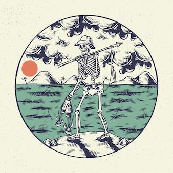 Ręka, rysunek, ilustracja, szkielet, czaszka, koncepcja ze szkieletu polującego na ryby na plaży.