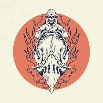 Ręka, rysunek, ilustracja, szkielet, czaszka, pojęcie, od, szkielet, jazda konna, czaszka, głowa orła, ptak. projekt dla projektu koszulki lub towaru