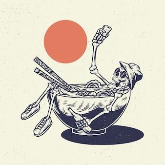 Ręka rysunek ilustracja szkielet czaszki, koncepcja z pływania szkieletu w makaron ramen.
