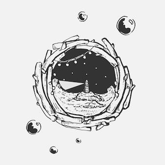 Ręka rysunek latarnia morska w oknie z drewna koło