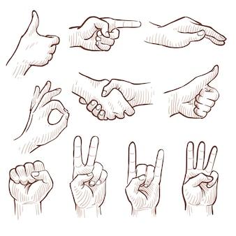 Ręka rysunek szkic człowiek ręce wyświetlono zestaw różnych gestów.