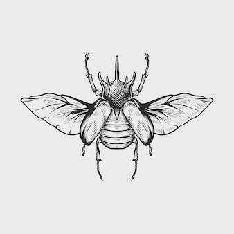 Ręka rysunek vintage nosorożec chrząszcz ilustracji wektorowych