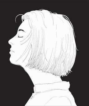 Ręka rysunkowa ilustracja twarz ludzka