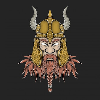 Ręka rysunkowa rocznika viking głowy wektoru ilustracja