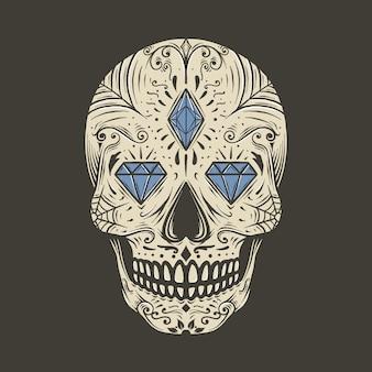Ręka rysunkowego rocznika czaszki cukieru wektoru ilustracja