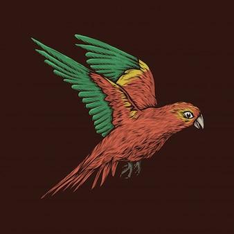 Ręka rysunkowego rocznika latająca papuzia wektorowa ilustracja