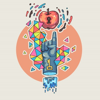 Ręka sięga po jabłko. kreskówki ilustracja w komicznym modnym stylu.