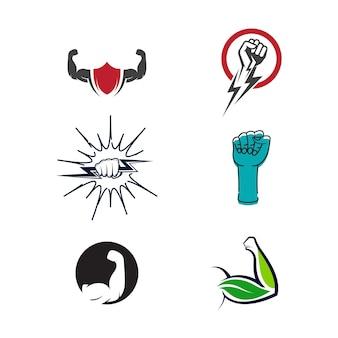 Ręka Silny Szablon Wektor Ikona Ilustracja Projekt Premium Wektorów
